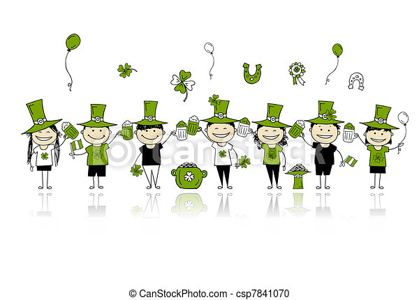 St. Patrick's Day, friends with beer mugs for your design - csp7841070