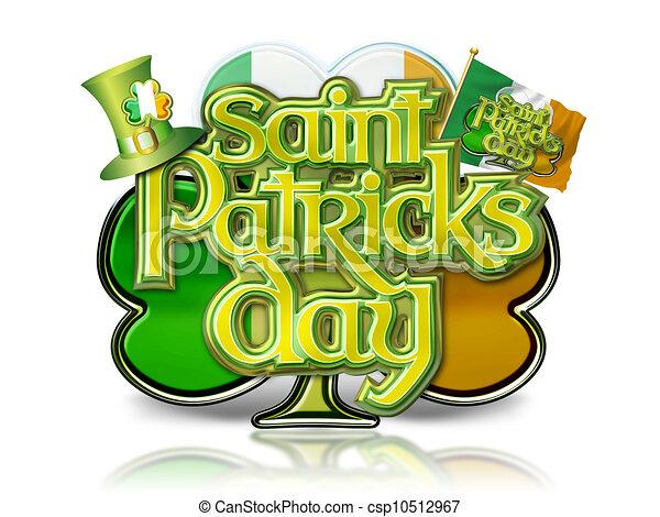 St Patricks Day Graphic on Shamrock - csp10512967