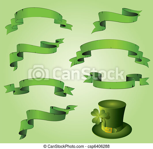 St. Patrick's day green ribbons - csp6406288