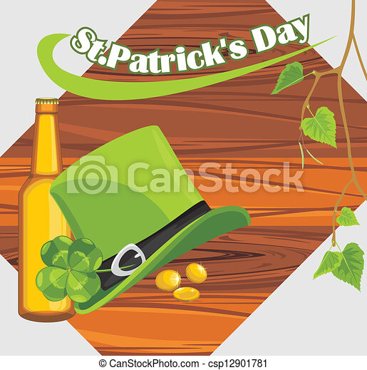 St. Patrick's Day hat and beer - csp12901781