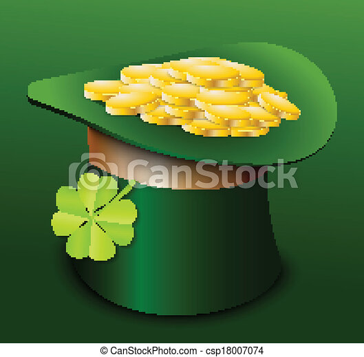 St. Patricks Day hat with clover - csp18007074