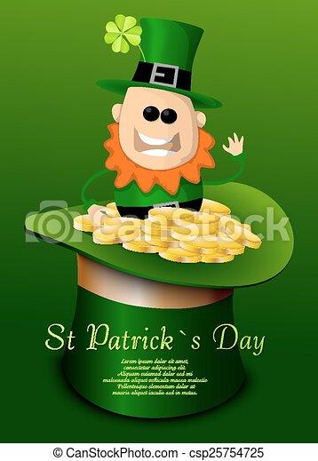 St. Patricks Day hat with leprechaun - csp25754725