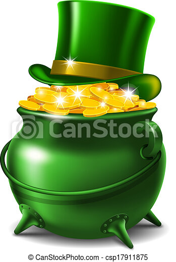 St Patricks Day Symbols Leprechaun Hat And Pot Of Gold Vector