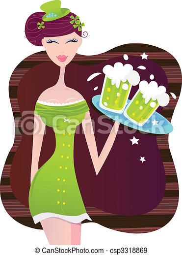 St. Patrick\'s Day irish girl with green beer - csp3318869