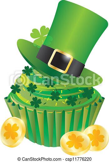 St Patricks Day Leprechaun Hat Cupcake - csp11776220