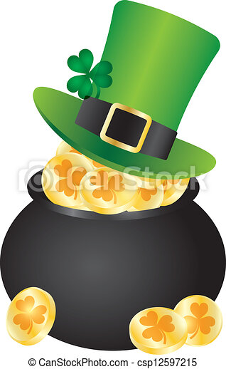st patricks day leprechaun hat on pot of gold st patricks day irish