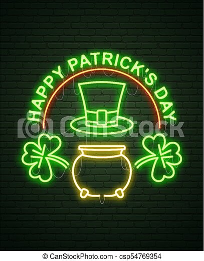 st patricks day neon sign and green brick wall realistic sign