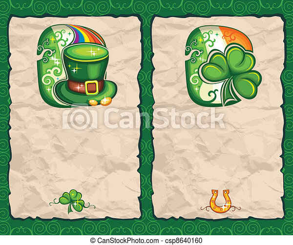St. Patrick's Day paper backgrounds - csp8640160