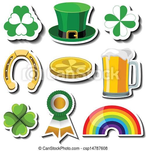 St Patricks day sticker set - csp14787608