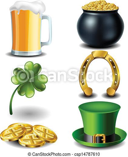 St Patricks day symbol set - csp14787610