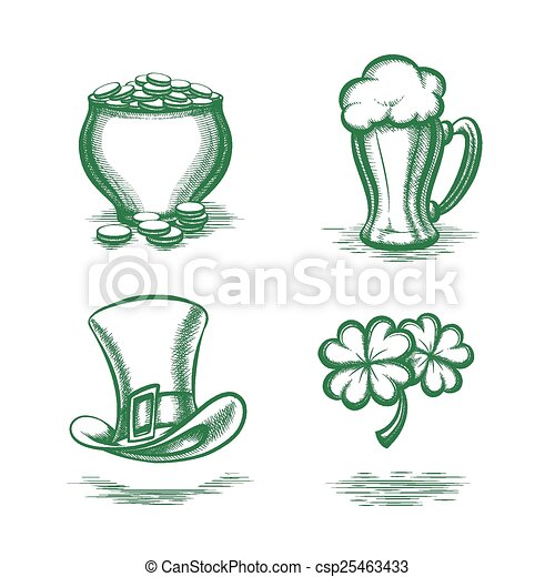 Vector St Patricks Day Symbols Leprechaun Hat And Pot Of Gold Beer