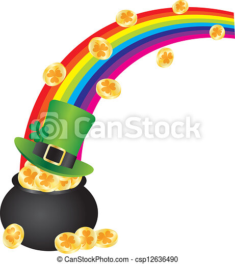 st patricks leprechaun hat rainbow on pot of gold st eps vectors rh canstockphoto com