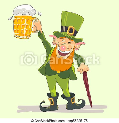 st Patricks leprechaun with beer - csp55325175