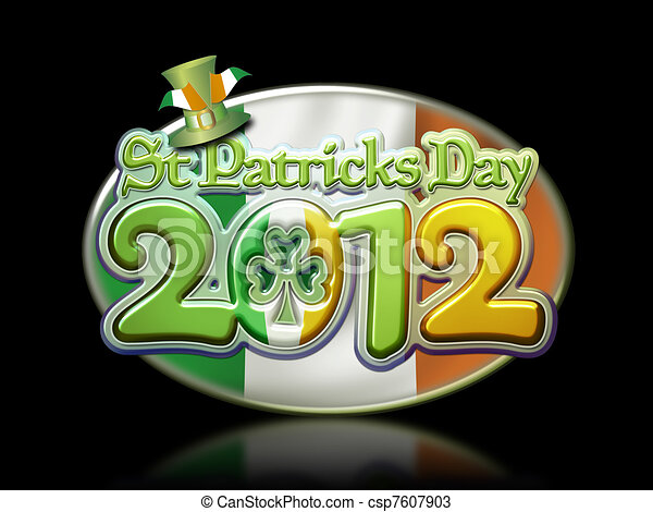 St Pats Day Oval Graphic 2012 b - csp7607903