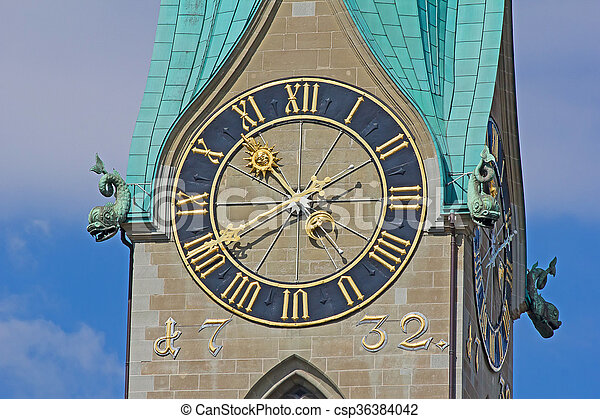 St. Peter cathedral in Zurich - csp36384042