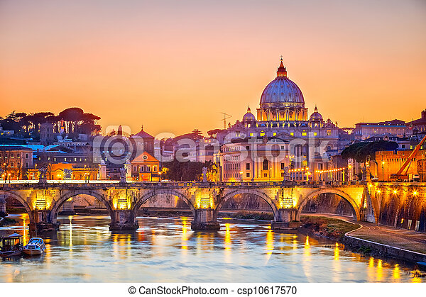 St. Peter's cathedral at night, Rome - csp10617570