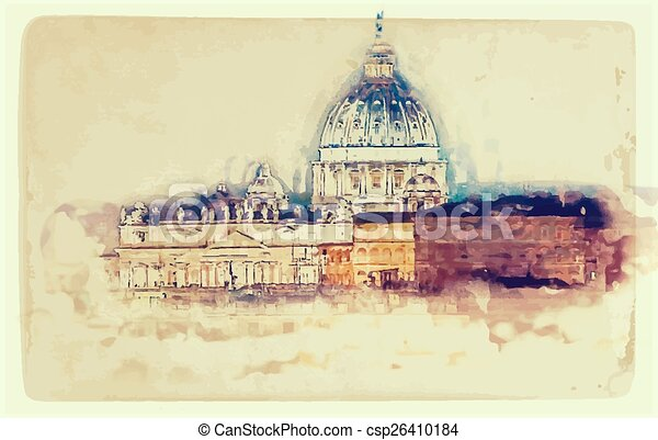 St. Peter's cathedral in Rome, Italy - csp26410184