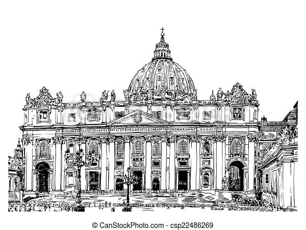 St. Peter's Cathedral, Rome, Vatican, Italy - csp22486269