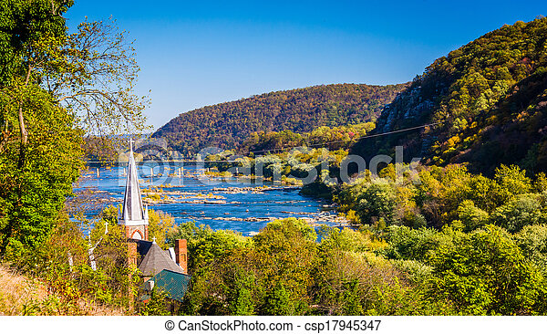 St. Peters Roman Catholic Church and the Potomac River, seen from Jefferson Rock in Harper's Ferry, West Virginia. - csp17945347