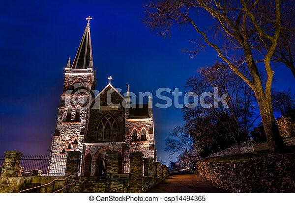 St. Peter's Roman Catholic Church at night, Harper's Ferry, WV. - csp14494365