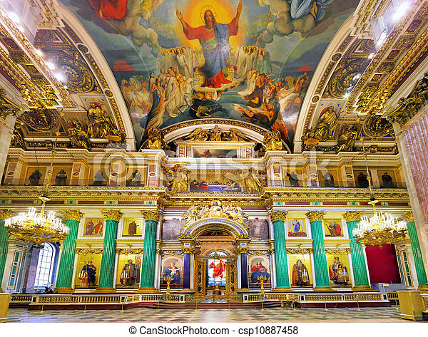 ST. PETERSBURG, RUSSIA FEDERATION - JUNE 29:Interior of Saint Isaac's Cathedral in St Petersburg, Russia . Picture takes in Saint-Petersburg, inside Saint Isaac's Cathedral  on June 29, 2012.   - csp10887458