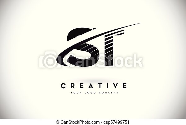 St S T Letter Logo Design With Swoosh And Black Lines