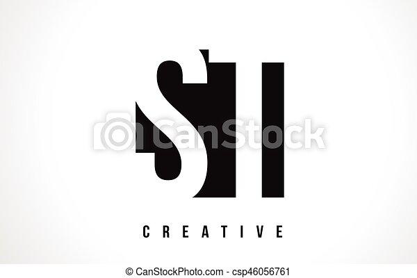St S T White Letter Logo Design With Black Square