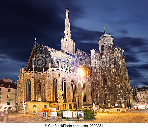 St. Stephan cathedral in Vienna at twilight, Austria - csp12330381
