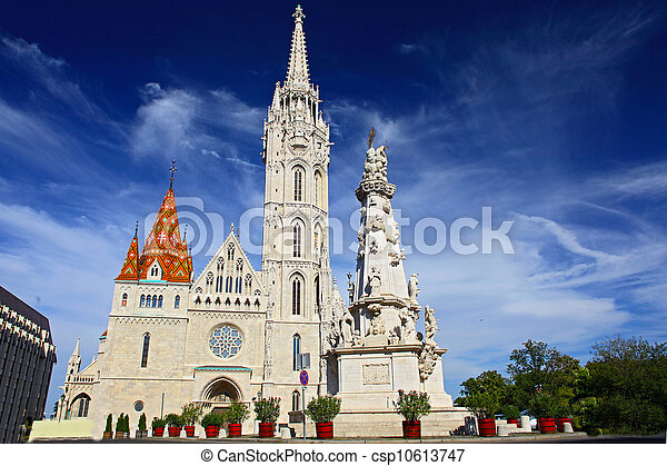 St. Stephen Monument Looking at Matthias Church at Buda Castle in Budapest, Hungary - csp10613747