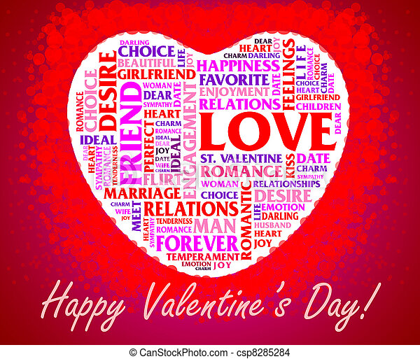 St. valentine\'s day collage over heart shaped background stock ...