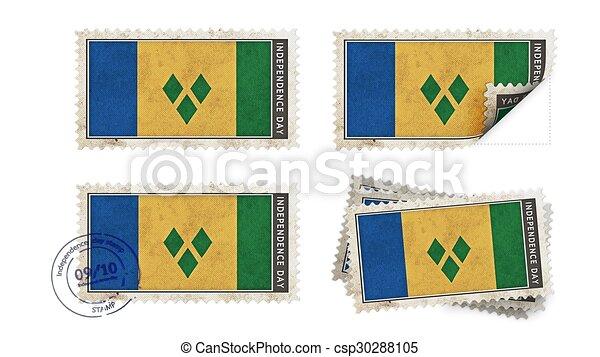 st vincent & the grenadines flag on stamp independence day set