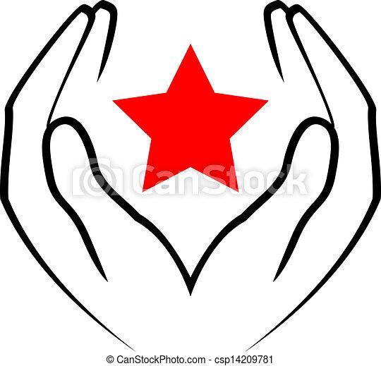 sta, -, vettore, tenere mani, rosso, icona - csp14209781