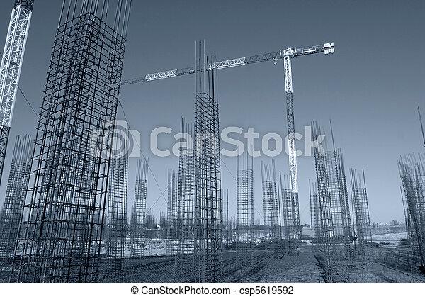staal, afgedwingenene, bouwterrein, op, beton, bouwsector, opstand, lijstjes - csp5619592