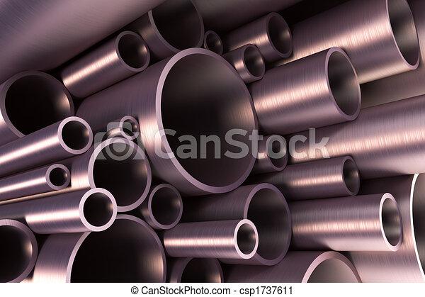 staal, buizenstelsel, stapel - csp1737611