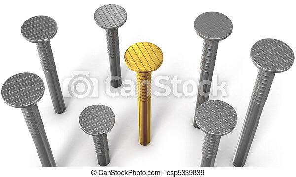staal, gouden, vrijstaand, spijker, degene, tussen, witte  - csp5339839