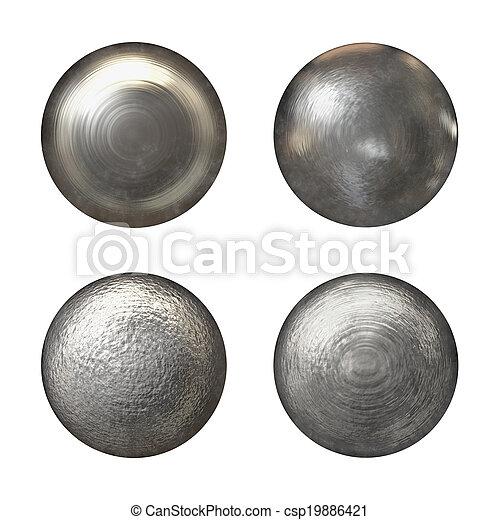 staal, hoofden, klinknagel, verzameling - csp19886421