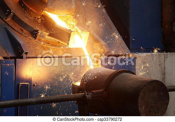 staal, industrie, vloeistof, gesmolten - csp33790272