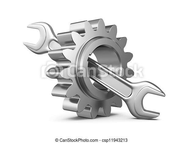 staal, werktuig, tandwiel, moersleutel - csp11943213