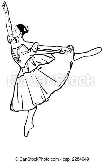 staand, ballerina, schets, pose, meisje - csp12284649