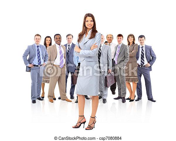 staand, vrouw, haar, zakelijk, jonge, team, voorkant, vrolijke  - csp7080884