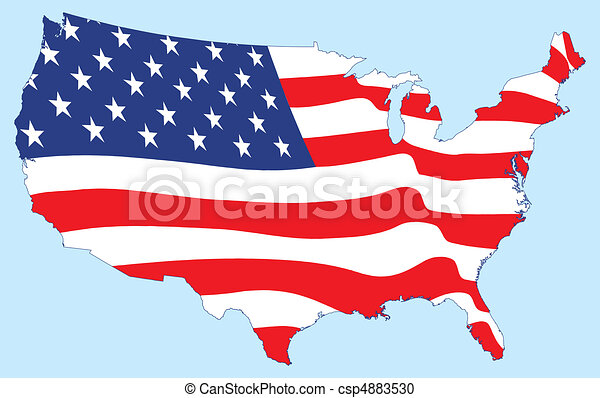 Vereinigte Staaten Karte mit Flagge - csp4883530