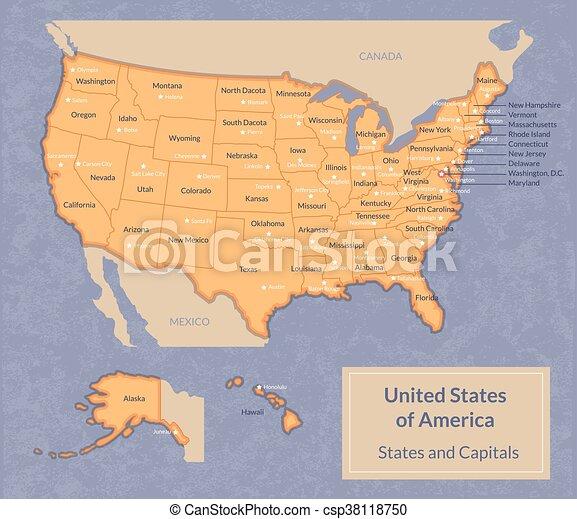 Usa Staaten Karte Mit Hauptstädten.Staaten Landkarte Kapitalien Usa Ihr
