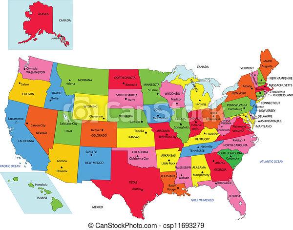 Staaten Staat 50 Usa Namen Usa 50 Staaten Staat Vektor