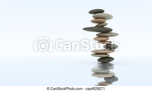Stability concept. Pebble stack on water - csp4829271