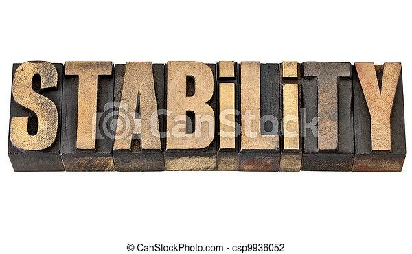 stability word in letterpress type - csp9936052