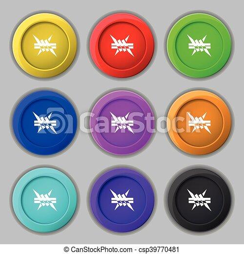 Stachelig, buttons., zeichen., draht, symbol, vektor, neun ...