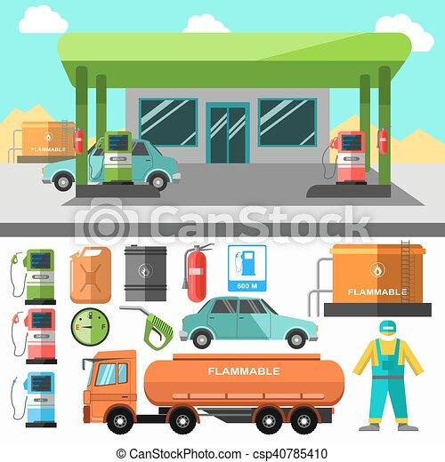 stacja benzynowa symbols tankowanie paliwa icons