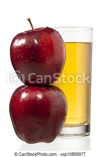 stack of apples and juice glass - csp10856977