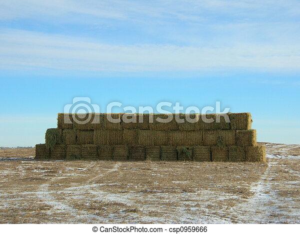 stack of big hay bales - csp0959666