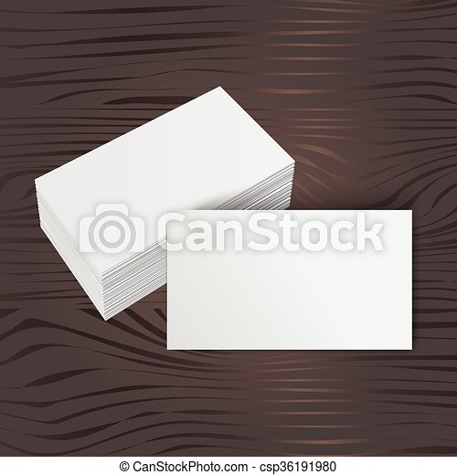 Stack of blank business card on wooden background vector search stack of blank business card csp36191980 reheart Images